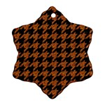 HOUNDSTOOTH1 BLACK MARBLE & RUSTED METAL Snowflake Ornament (Two Sides) Front