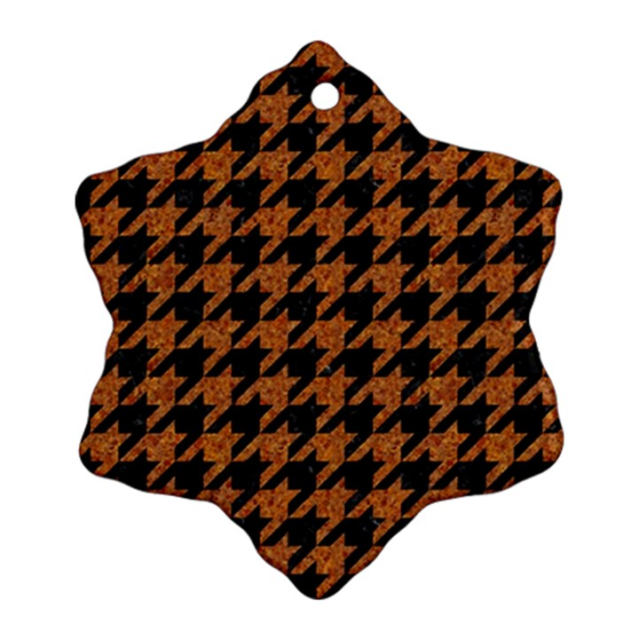 HOUNDSTOOTH1 BLACK MARBLE & RUSTED METAL Snowflake Ornament (Two Sides)