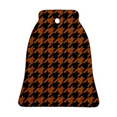 Houndstooth1 Black Marble & Rusted Metal Bell Ornament (two Sides)