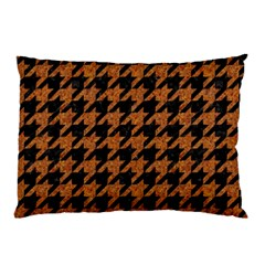 Houndstooth1 Black Marble & Rusted Metal Pillow Case (two Sides)