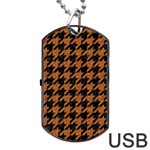 HOUNDSTOOTH1 BLACK MARBLE & RUSTED METAL Dog Tag USB Flash (One Side) Front