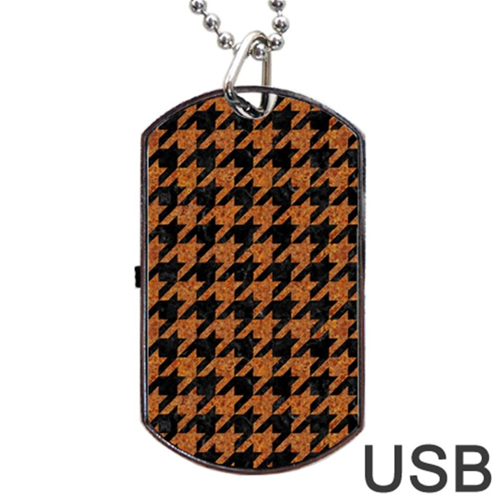 HOUNDSTOOTH1 BLACK MARBLE & RUSTED METAL Dog Tag USB Flash (One Side)