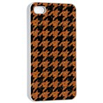 HOUNDSTOOTH1 BLACK MARBLE & RUSTED METAL Apple iPhone 4/4s Seamless Case (White) Front