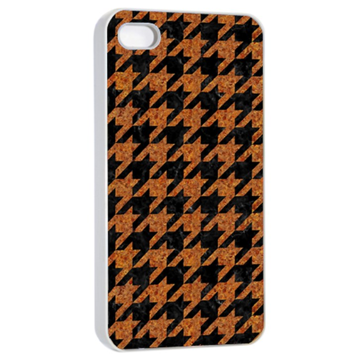HOUNDSTOOTH1 BLACK MARBLE & RUSTED METAL Apple iPhone 4/4s Seamless Case (White)