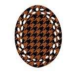 HOUNDSTOOTH1 BLACK MARBLE & RUSTED METAL Ornament (Oval Filigree) Front