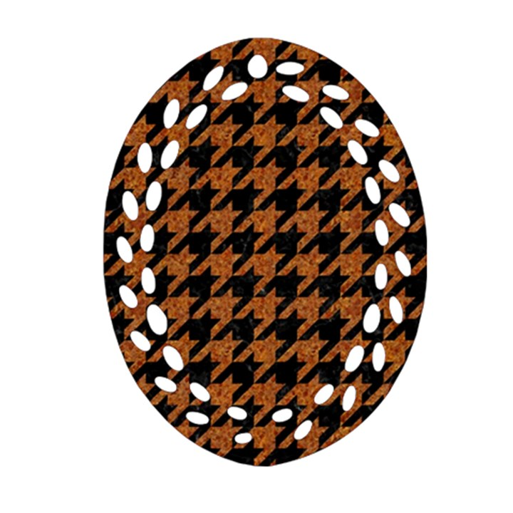 HOUNDSTOOTH1 BLACK MARBLE & RUSTED METAL Ornament (Oval Filigree)