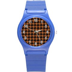 Houndstooth1 Black Marble & Rusted Metal Round Plastic Sport Watch (s)