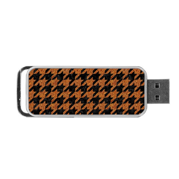 HOUNDSTOOTH1 BLACK MARBLE & RUSTED METAL Portable USB Flash (One Side)