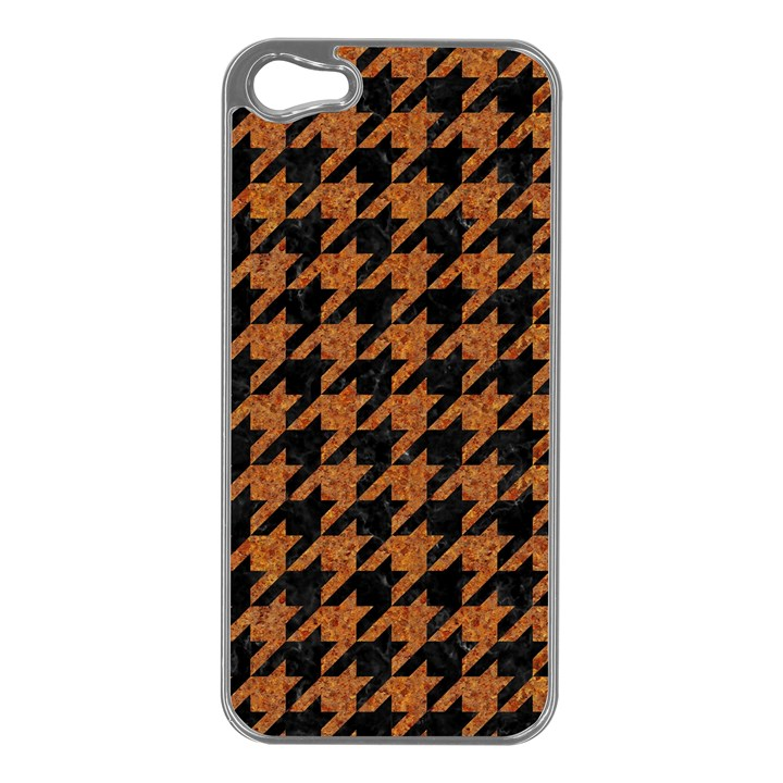 HOUNDSTOOTH1 BLACK MARBLE & RUSTED METAL Apple iPhone 5 Case (Silver)