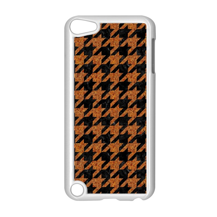 HOUNDSTOOTH1 BLACK MARBLE & RUSTED METAL Apple iPod Touch 5 Case (White)