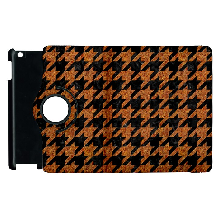 HOUNDSTOOTH1 BLACK MARBLE & RUSTED METAL Apple iPad 2 Flip 360 Case