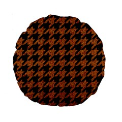 Houndstooth1 Black Marble & Rusted Metal Standard 15  Premium Round Cushions