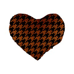Houndstooth1 Black Marble & Rusted Metal Standard 16  Premium Heart Shape Cushions
