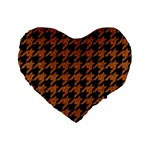 HOUNDSTOOTH1 BLACK MARBLE & RUSTED METAL Standard 16  Premium Heart Shape Cushions Front