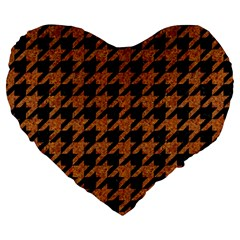 Houndstooth1 Black Marble & Rusted Metal Large 19  Premium Heart Shape Cushions