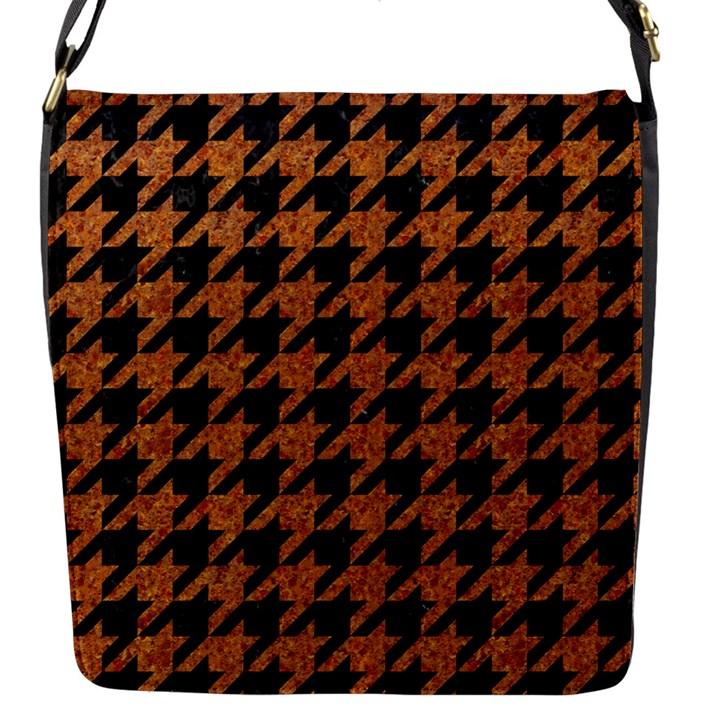 HOUNDSTOOTH1 BLACK MARBLE & RUSTED METAL Flap Messenger Bag (S)
