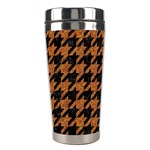 HOUNDSTOOTH1 BLACK MARBLE & RUSTED METAL Stainless Steel Travel Tumblers Left