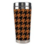 HOUNDSTOOTH1 BLACK MARBLE & RUSTED METAL Stainless Steel Travel Tumblers Center