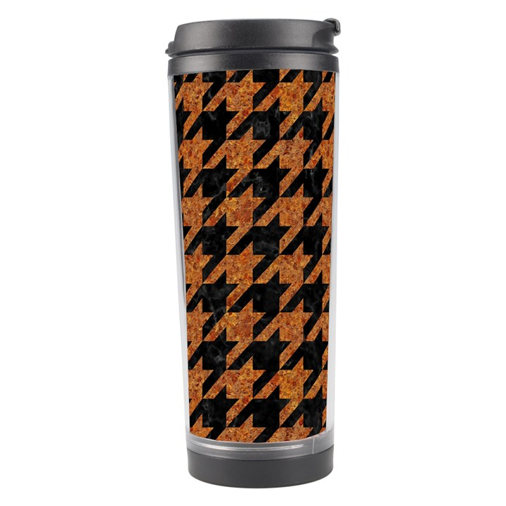 HOUNDSTOOTH1 BLACK MARBLE & RUSTED METAL Travel Tumbler