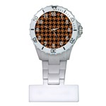 HOUNDSTOOTH1 BLACK MARBLE & RUSTED METAL Plastic Nurses Watch Front