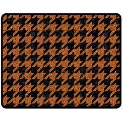 Houndstooth1 Black Marble & Rusted Metal Double Sided Fleece Blanket (medium)