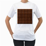 HOUNDSTOOTH1 BLACK MARBLE & RUSTED METAL Women s T-Shirt (White)  Front