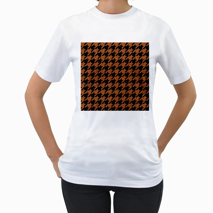 HOUNDSTOOTH1 BLACK MARBLE & RUSTED METAL Women s T-Shirt (White)