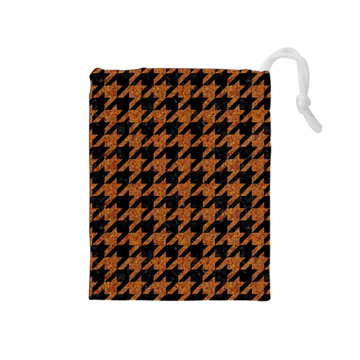 HOUNDSTOOTH1 BLACK MARBLE & RUSTED METAL Drawstring Pouches (Medium)