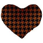 HOUNDSTOOTH1 BLACK MARBLE & RUSTED METAL Large 19  Premium Flano Heart Shape Cushions Front