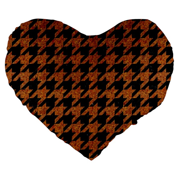 HOUNDSTOOTH1 BLACK MARBLE & RUSTED METAL Large 19  Premium Flano Heart Shape Cushions