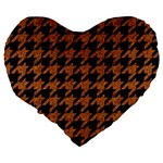 HOUNDSTOOTH1 BLACK MARBLE & RUSTED METAL Large 19  Premium Flano Heart Shape Cushions Back
