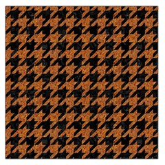Houndstooth1 Black Marble & Rusted Metal Large Satin Scarf (square)