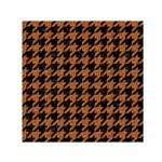 HOUNDSTOOTH1 BLACK MARBLE & RUSTED METAL Small Satin Scarf (Square) Front