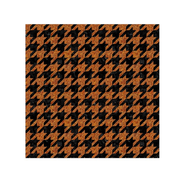 HOUNDSTOOTH1 BLACK MARBLE & RUSTED METAL Small Satin Scarf (Square)