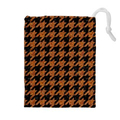 Houndstooth1 Black Marble & Rusted Metal Drawstring Pouches (extra Large)