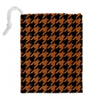 HOUNDSTOOTH1 BLACK MARBLE & RUSTED METAL Drawstring Pouches (Extra Large) Back