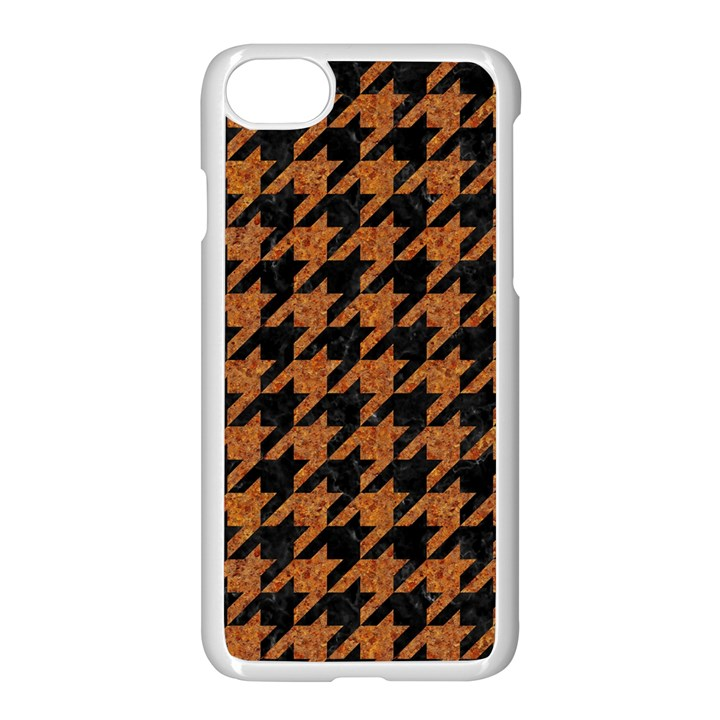 HOUNDSTOOTH1 BLACK MARBLE & RUSTED METAL Apple iPhone 7 Seamless Case (White)