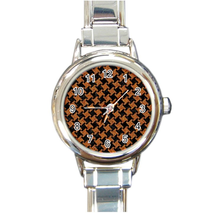 HOUNDSTOOTH2 BLACK MARBLE & RUSTED METAL Round Italian Charm Watch