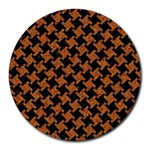 HOUNDSTOOTH2 BLACK MARBLE & RUSTED METAL Round Mousepads Front