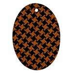 HOUNDSTOOTH2 BLACK MARBLE & RUSTED METAL Ornament (Oval) Front