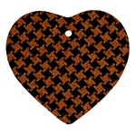 HOUNDSTOOTH2 BLACK MARBLE & RUSTED METAL Ornament (Heart) Front