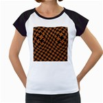 HOUNDSTOOTH2 BLACK MARBLE & RUSTED METAL Women s Cap Sleeve T Front