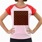 HOUNDSTOOTH2 BLACK MARBLE & RUSTED METAL Women s Cap Sleeve T-Shirt Front