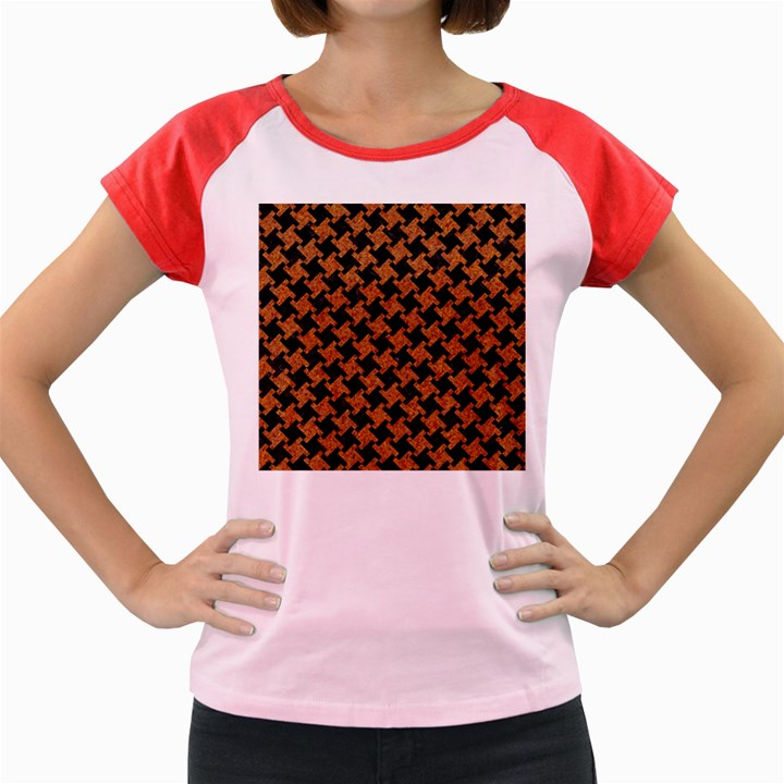 HOUNDSTOOTH2 BLACK MARBLE & RUSTED METAL Women s Cap Sleeve T-Shirt