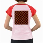 HOUNDSTOOTH2 BLACK MARBLE & RUSTED METAL Women s Cap Sleeve T-Shirt Back