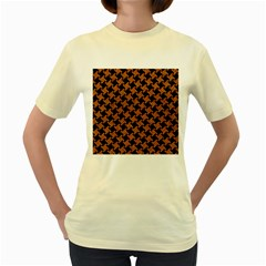 Houndstooth2 Black Marble & Rusted Metal Women s Yellow T Shirt