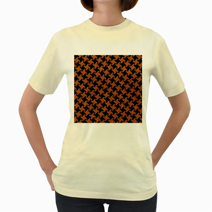 HOUNDSTOOTH2 BLACK MARBLE & RUSTED METAL Women s Yellow T-Shirt