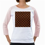 HOUNDSTOOTH2 BLACK MARBLE & RUSTED METAL Girly Raglans Front