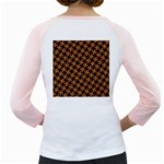 HOUNDSTOOTH2 BLACK MARBLE & RUSTED METAL Girly Raglans Back