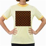 HOUNDSTOOTH2 BLACK MARBLE & RUSTED METAL Women s Fitted Ringer T-Shirts Front